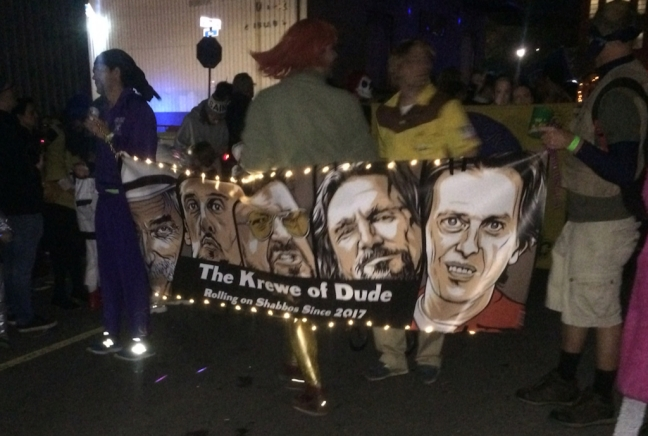 "The Krewe of Dude, ""Rolling on Shabbus since 2017."""